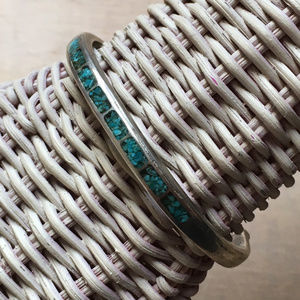 Modernist Sterling Turquoise Inlay Bracelet Zuni
